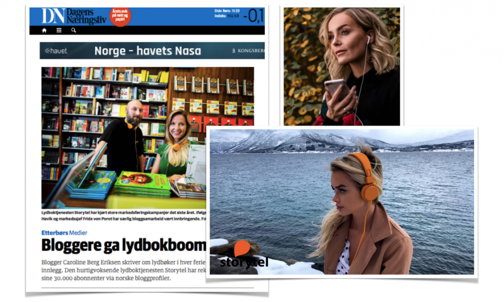 Screenshot from Influencer campaigns with Storytel